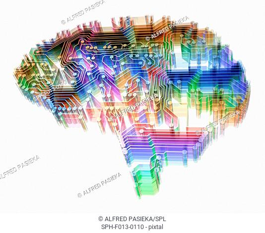 Artificial intelligence. Illustration of a brain-shaped printed circuit board