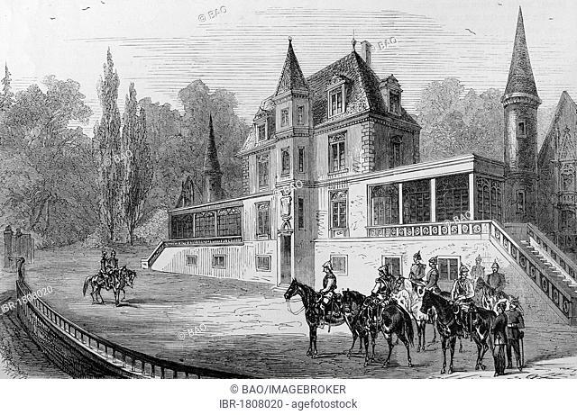 Bellevue castle at Sedan, France, meeting between King William I and Napoleon III., on 2nd September 1870, historical illustration