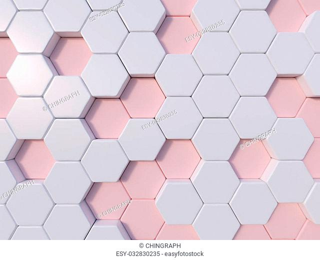 Rose Quartz abstract 3d hexagon background bee hive