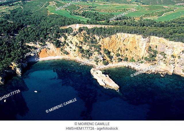 France, Var, Bandol, Baie de la Moutte and Fregate gulf aerial view