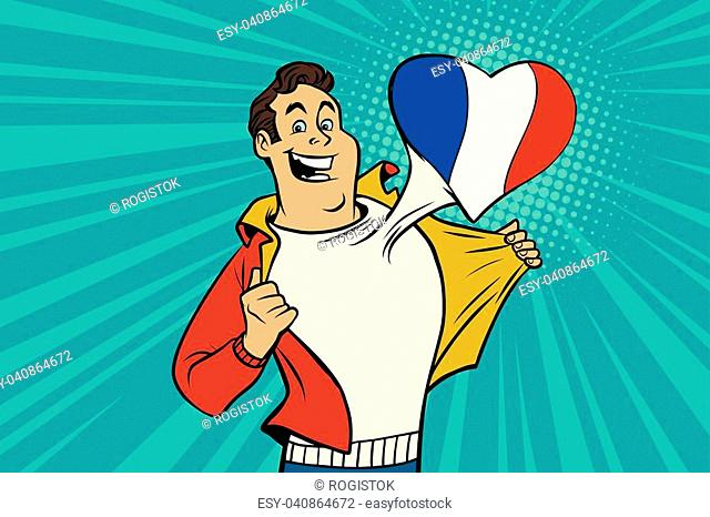 sports fan loves France. Heart with flag of the country. Comic cartoon style pop art illustration vector retro