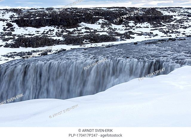 Dettifoss on the Jökulsá á Fjöllum river in winter, Europe's most powerful waterfall in Vatnajökull National Park in Northeast Iceland