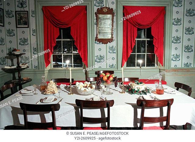 Christmas by Candlelight inside the Salem Towne House at Old Sturbridge Village, Sturbridge, United States, North America
