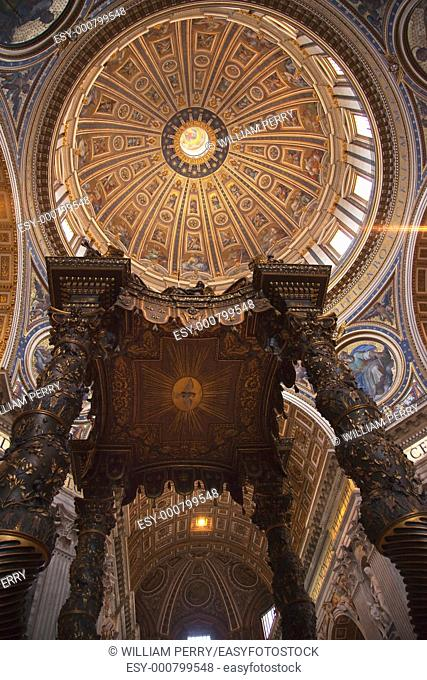 Saint Peter's Basilica Vatican Inside From Bernini's bronze baldacchino Looking Up to Michelangelo's Dome and Ceiling