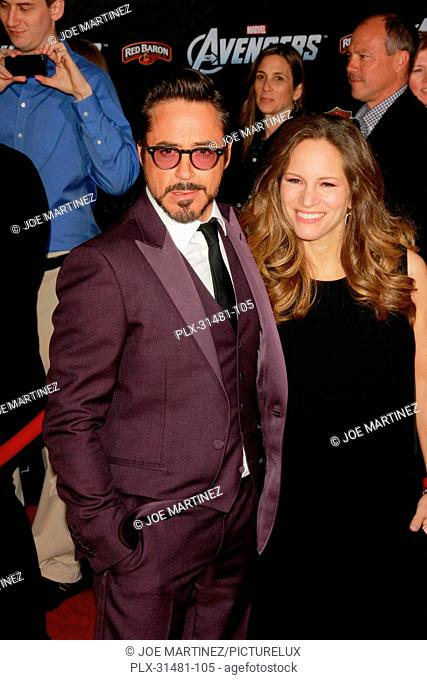 Robert Downey Jr. and his wife Susan Downey at the World Premiere of Marvel's The Avengers. Arrivals held at El Capitan Theatre in Hollywood, CA, April 11, 2012