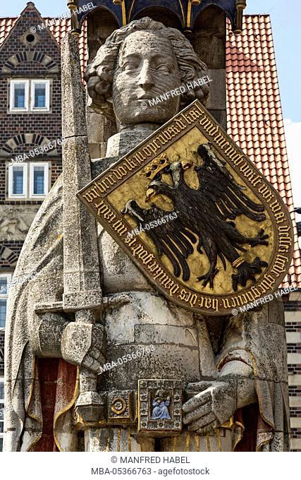 Roland statue on the market square, detail, Bremen