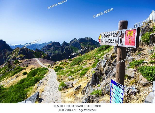 Direction signal in Pico do Arieiro area. Madeira, Portugal, Europe