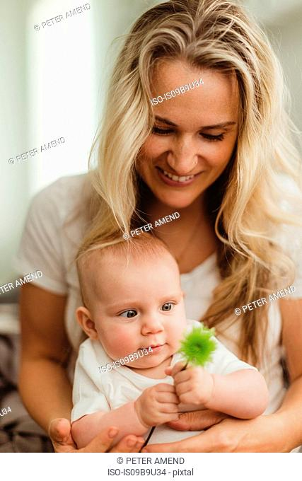 Baby girl sitting on mother's lap looking at flower