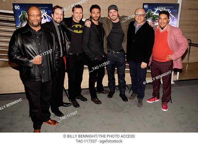 "James Tucker, Ray Chase, Jason O'Mara, Matt Ryan, Phil Bourassa, Enrico Colantoni and Nick Turturro attends premiere of Warner Home Movies' """"Justice League..."