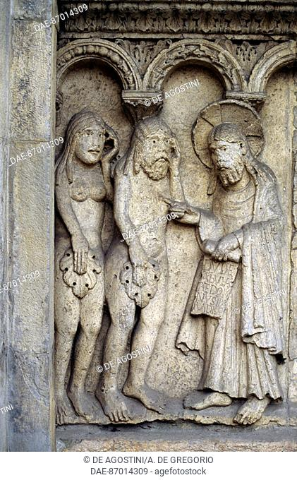 God rebuking Adam and Eve, detail from Stories of Genesis, by Wiligelmus (active ca 1099-1120), marble bas-relief, facade of the Metropolitan Cathedral of Saint...