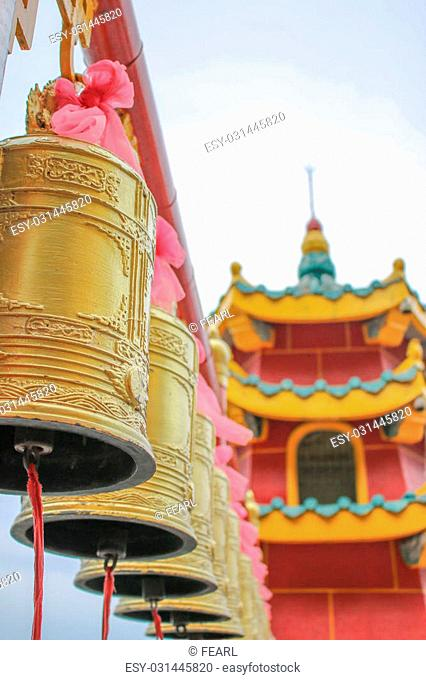 sacred chinese worship situated on mountain and near sea