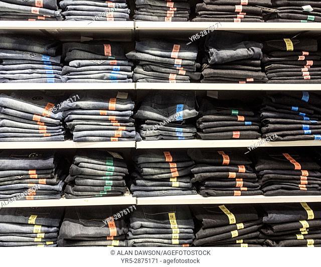 Denim jeans in Primark store in Spain