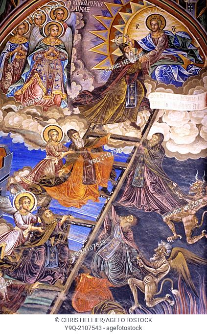 Ladder of Divine Ascent or Stairway to Heaven Fresco in Narthex Great Lavra Monastery Mount Athos Greece