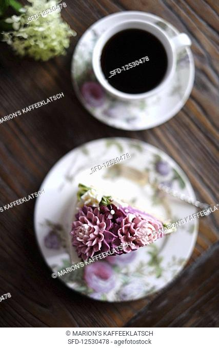 A piece of flower cake with Korean shine buttercream
