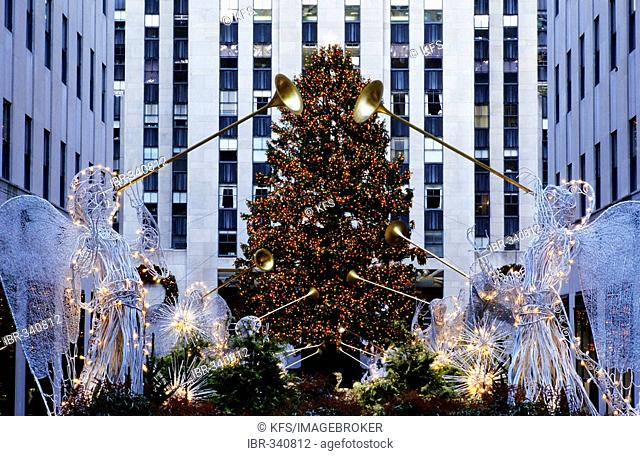 Christmas tree and trumpet angels, decoration at Rockefeller Center, New York City, USA