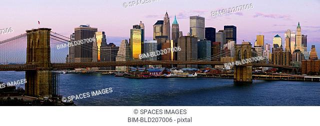 Lower Manhattan Skyline and Brooklyn Bridge at Dawn