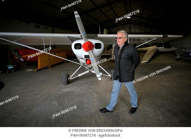 Klaus Radke, chairman of the Westerwald Aviation Club e.V. (LSC), gives an interview in the club's hangar in Montabaur,Germany, 26 February 2015