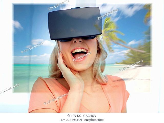 technology, augmented reality, cyberspace, entertainment and people concept - happy amazed young woman wearing virtual headset or 3d glasses with exotic...