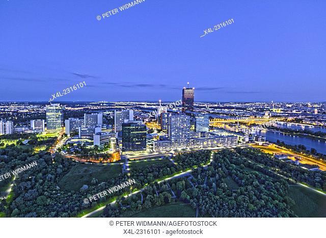 Austria, Vienna, Danube City, DC-Tower, river Danube