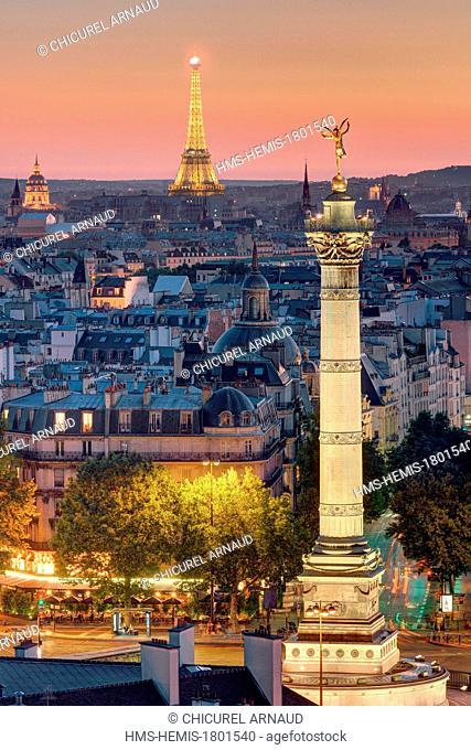 France, Paris, the colonne de Juillet (column of July) on Place de la Bastille and the Eiffel tower (© SETE Illuminations Pierre Bideau)