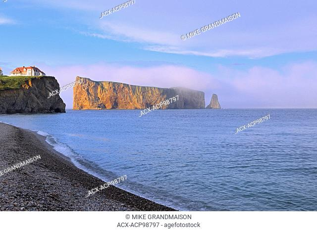 Percé Rock or Le Rocher Percé in the Atlantic Ocean Percé Quebec Canada
