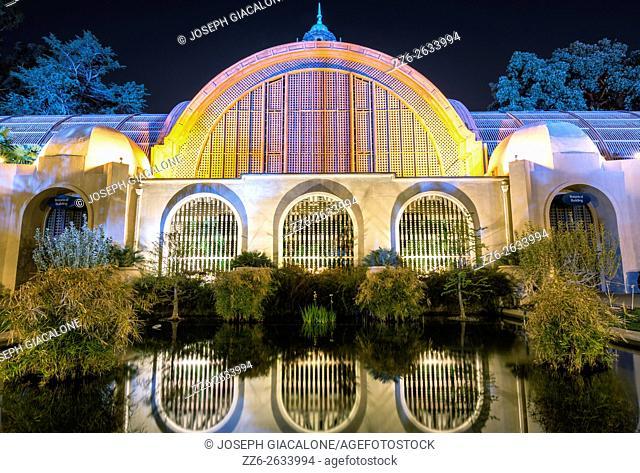 Botanical Building at night . Balboa Park, San Diego, California