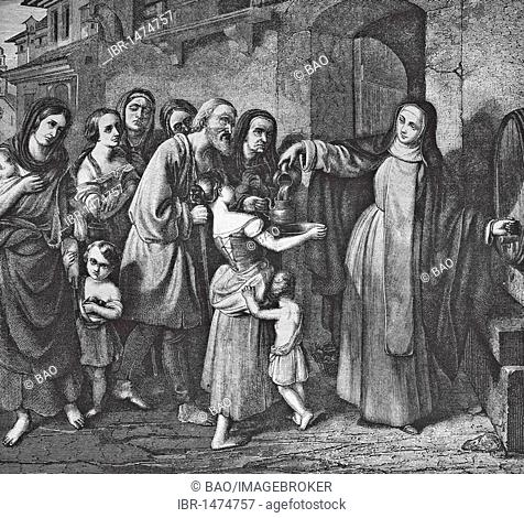 Catherine of Siena feeding the poor, historic steel engraving from 1860