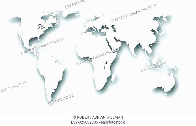 Editable vector illustration of a world map with drop shadow made using a gradient mesh