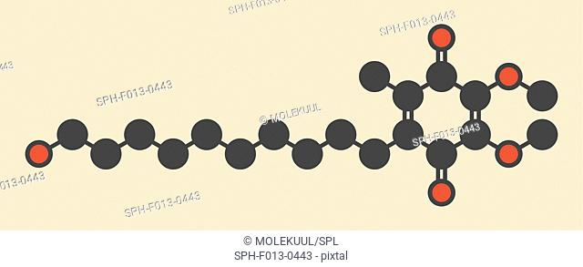 Idebenone drug molecule. Stylized skeletal formula (chemical structure). Atoms are shown as color-coded circles: hydrogen (hidden), carbon (grey), oxygen (red)