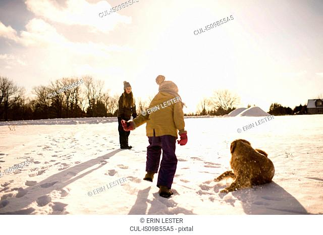 Children playing with their golden retriever, Lakefield, Ontario, Canada