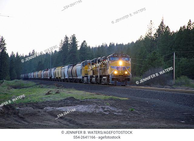 A Union Pacific train crosses a road near Spokane, Washington, USA