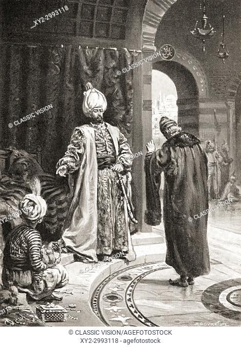 Joseph Nasi delivers gifts to Selim II. Dom Joseph Nasi or Nassi, aka João Miques/Micas, Dom João Migas Mendes, Giuseppe Nasi and Yasef Nassi, 1524 - 1579