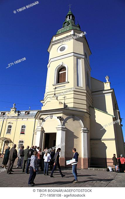 Ukraine, Lviv, church, people