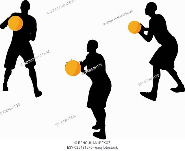 vector image - basketball player silhouette in pass pose, isolated on white background