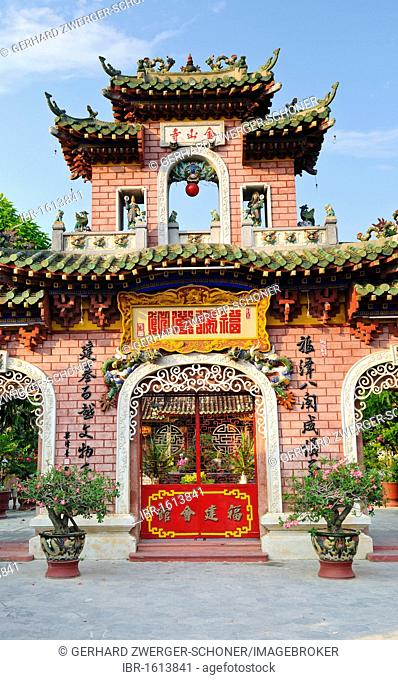 Colourful Facade of the Phuc Kien Assembly Hall of the Chinese from Fujian, Hoi An, Vietnam, Southeast Asia