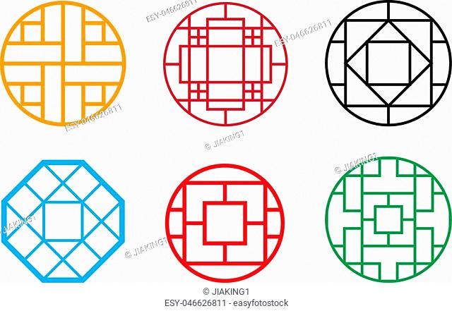 Circle Chinese pattern window frame, vector design