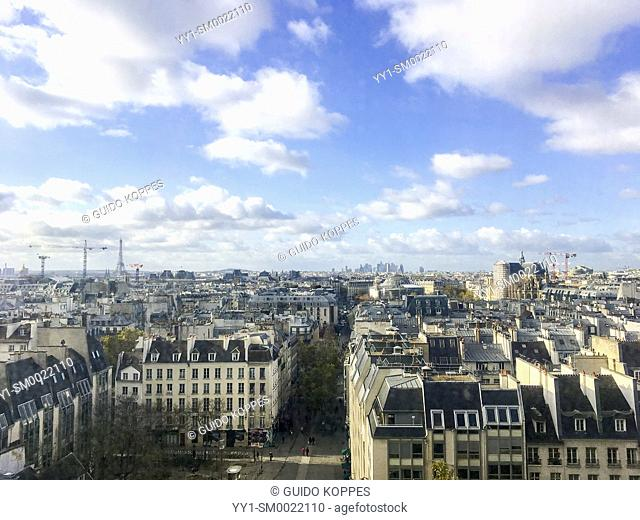 Paris, France. View on the French Capital from the rooftop of Centre de Pompidou, Museum of Modern Art. Most of Paris still exists of four or five store...