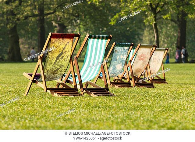 Deck Chairs in Green Park in the Morning,London,UK