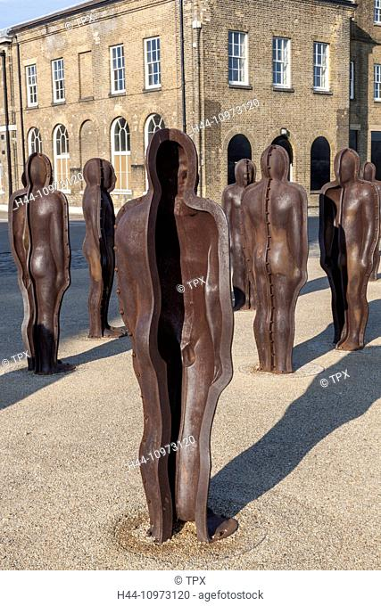 England, London, Woolwich, Peter Burke's Iron Sculptures titled Assembly