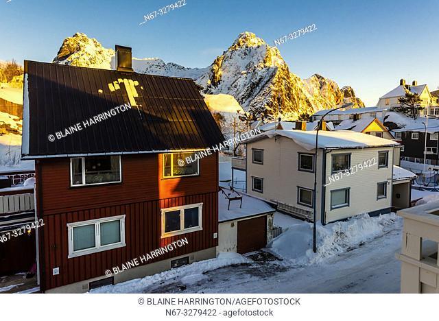 Houses in Svolvaer, Austvagoya Island, Lofoten Islands, Arctic, Northern Norway