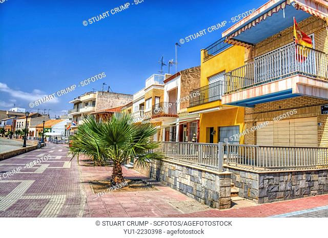 HDR of the houses on the promenade at Los Alcazares, Murcia, Spain, Europe