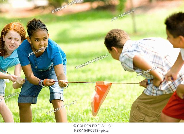 Two boys challenging two girls at tug-of-war at a park