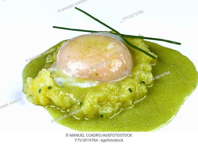 Huevo escalfado sobre patata rota y crema de chirlas en salsa verde