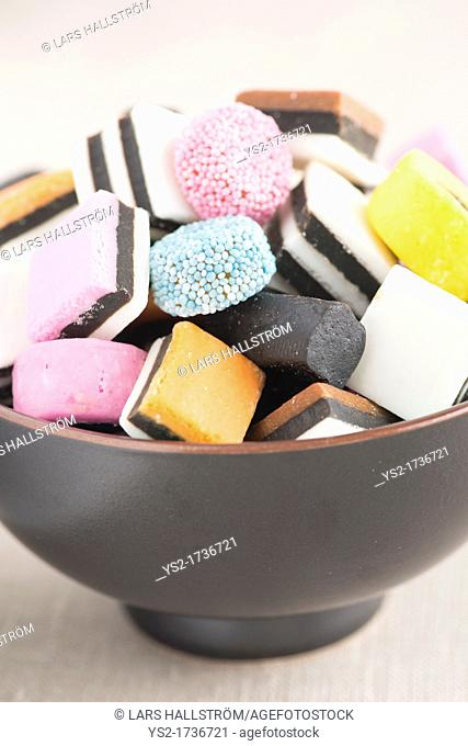 Close up of bowl filled with Liquorice Candy