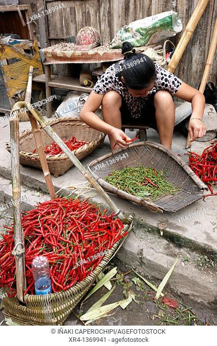 Guindillas, Mercado de Rongjiang, Rongjiang, Guizhou, China