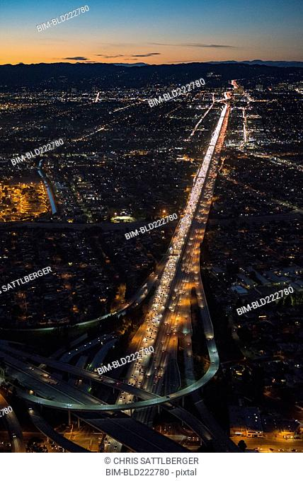 Aerial view of highway in Los Angeles cityscape, California, United States