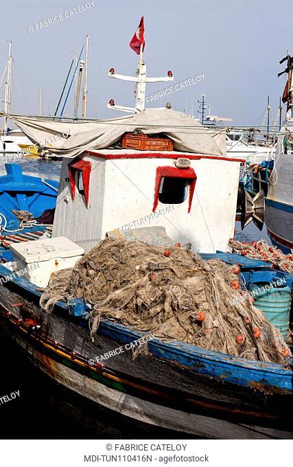 Tunisia - Jerba - Hount-Souk - Fishing ships in the marina
