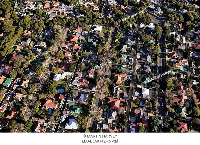Aerial View of Middle Class Houses in Suburb  Johannesburg, Gauteng Province, South Africa