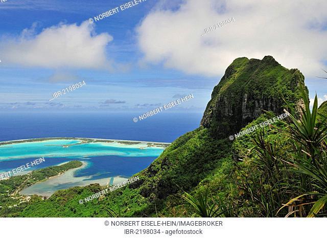 View of the reef, atoll, Motu and Mount Otemanu, from Mount Pahia, Bora Bora, Leeward Islands, Society Islands, French Polynesia, Pacific Ocean