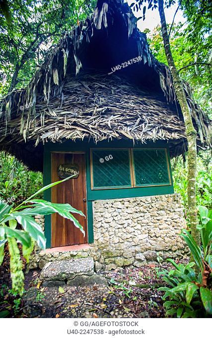 Guatemala, Rio Dulce, Finca Tatin, cabins in the Jungle